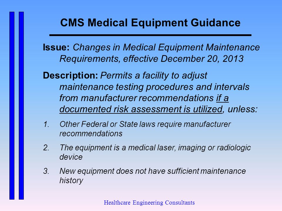 CMS Medical Equipment Guidance