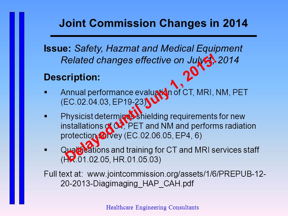 Joint Commission Changes in 2014