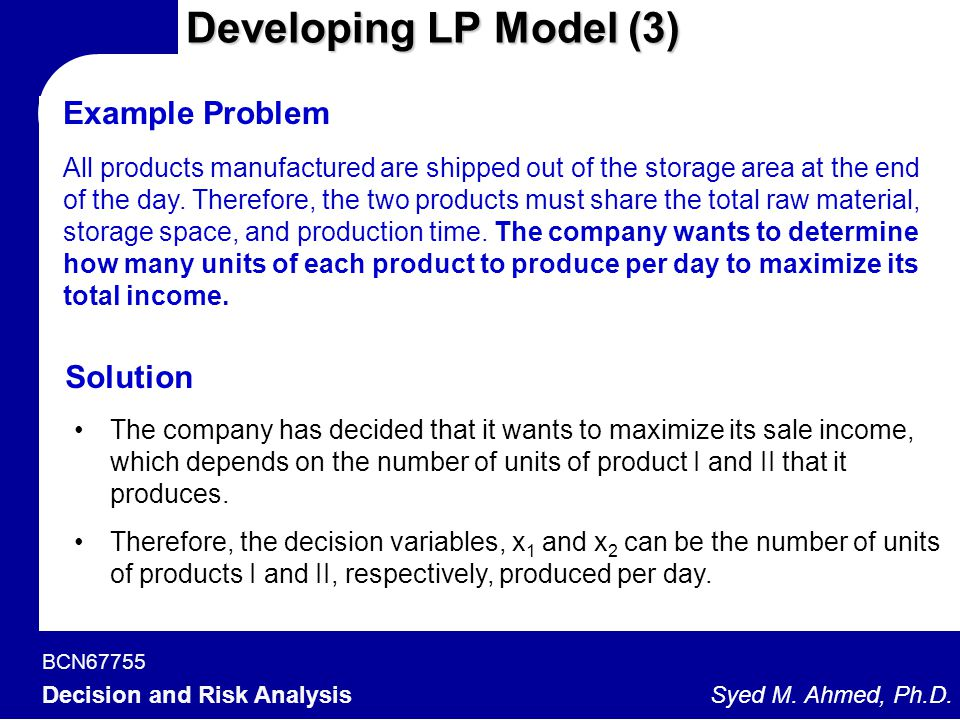 Developing LP Model (3) Example Problem Solution
