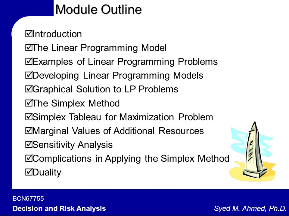Module Outline Introduction The Linear Programming Model