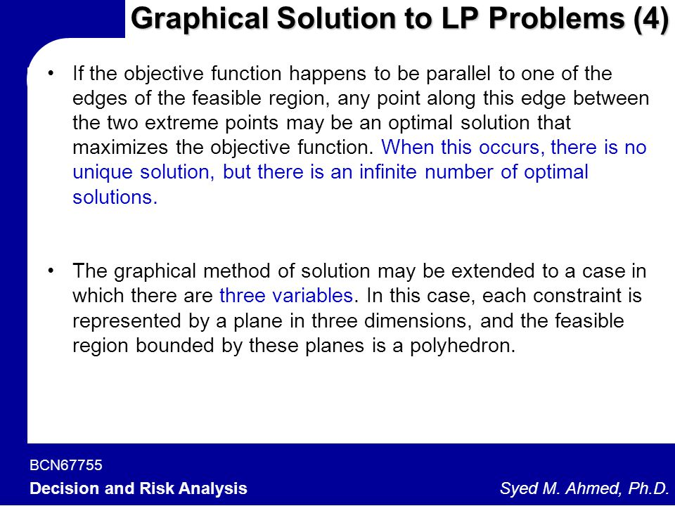 Graphical Solution to LP Problems (4)