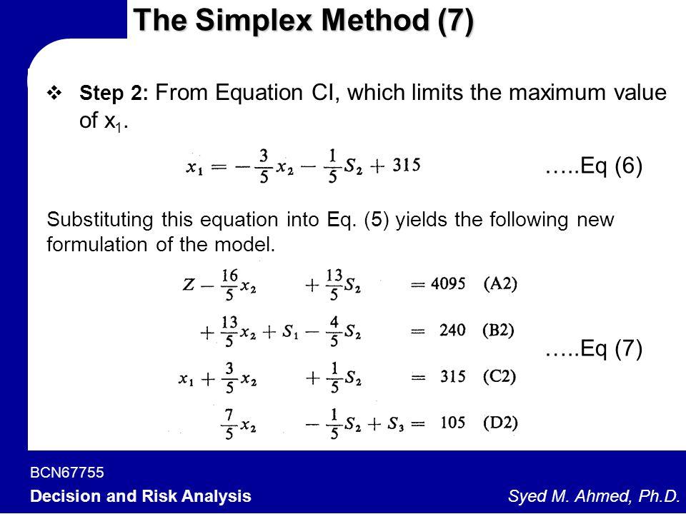 The Simplex Method (7) …..Eq (6) …..Eq (7)
