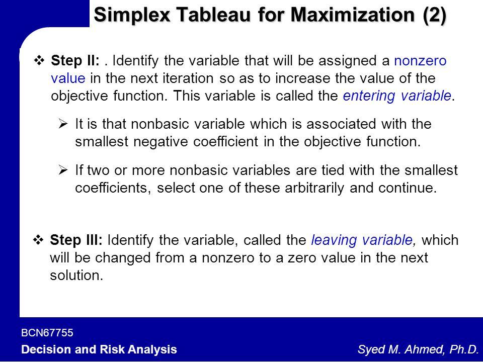 Simplex Tableau for Maximization (2)