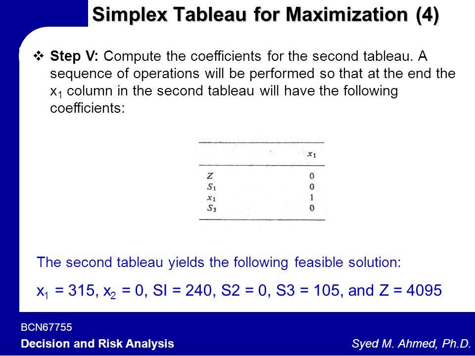 Simplex Tableau for Maximization (4)