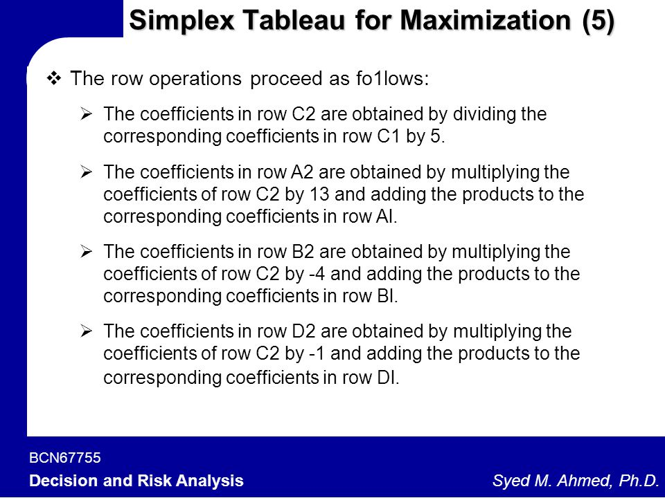 Simplex Tableau for Maximization (5)