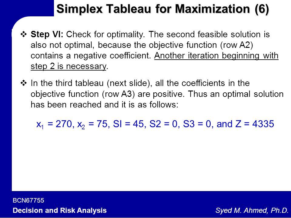 Simplex Tableau for Maximization (6)