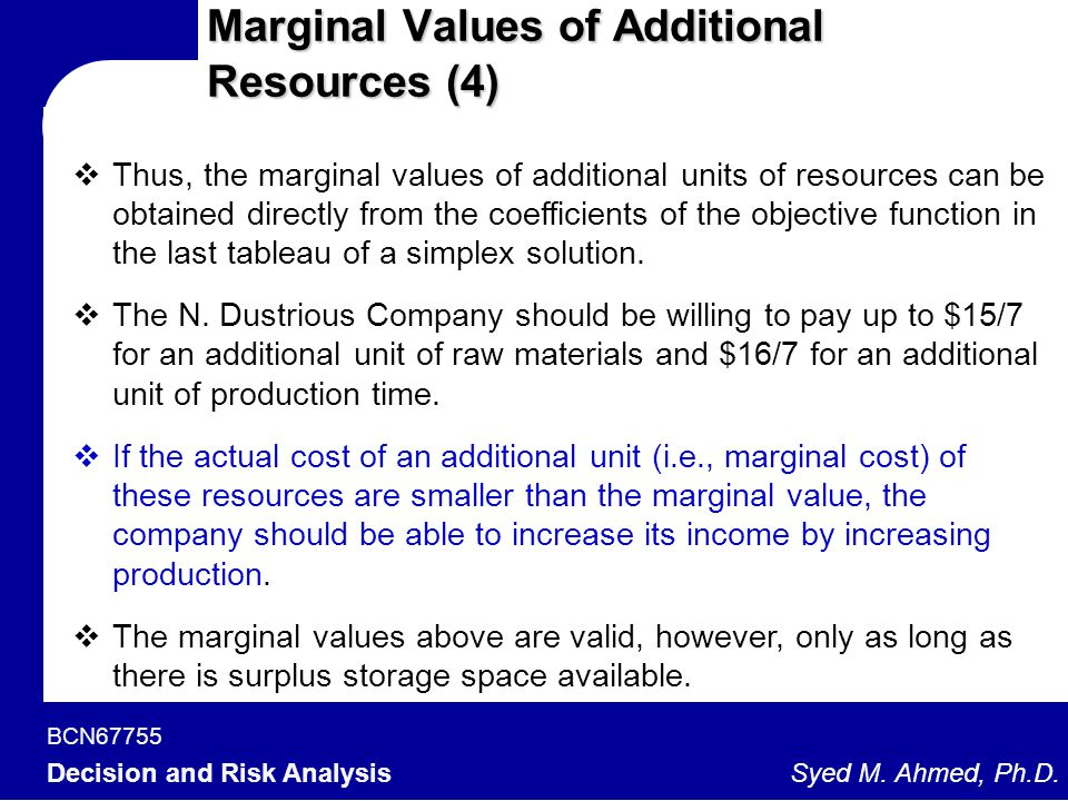 Marginal Values of Additional Resources (4)