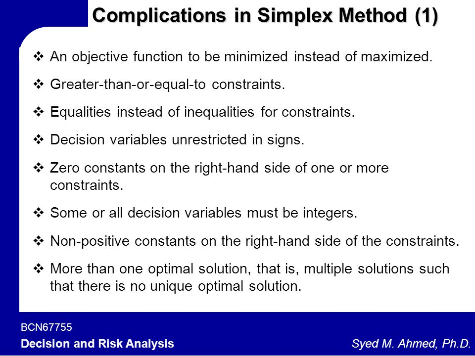 Complications in Simplex Method (1)