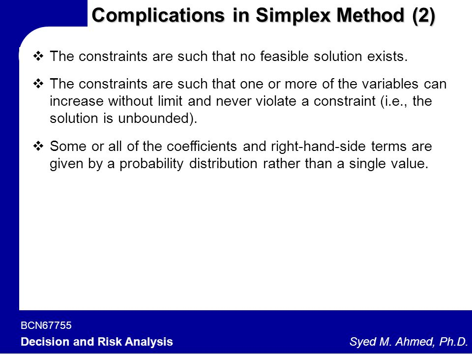 Complications in Simplex Method (2)
