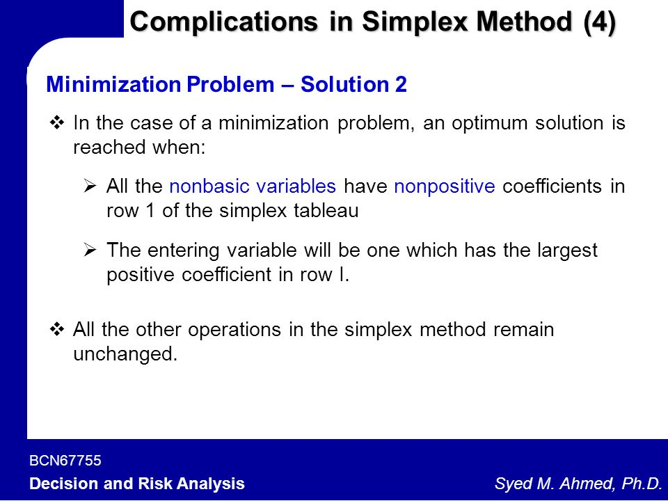 Complications in Simplex Method (4)
