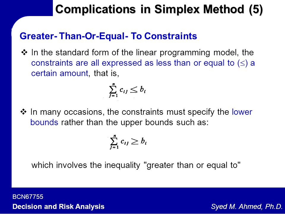 Complications in Simplex Method (5)