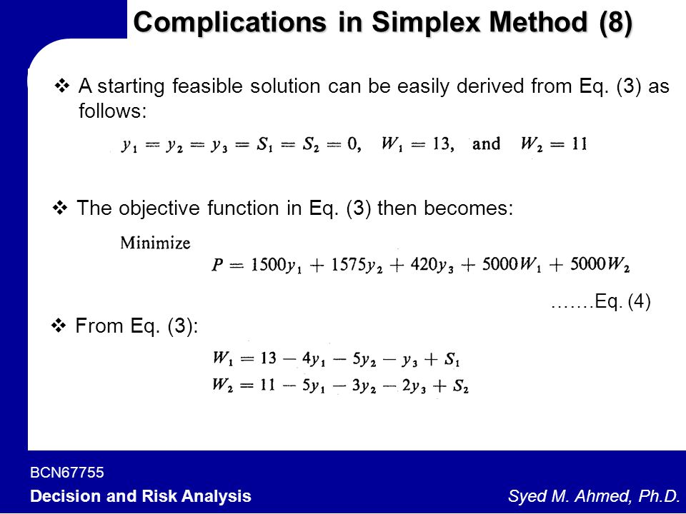 Complications in Simplex Method (8)