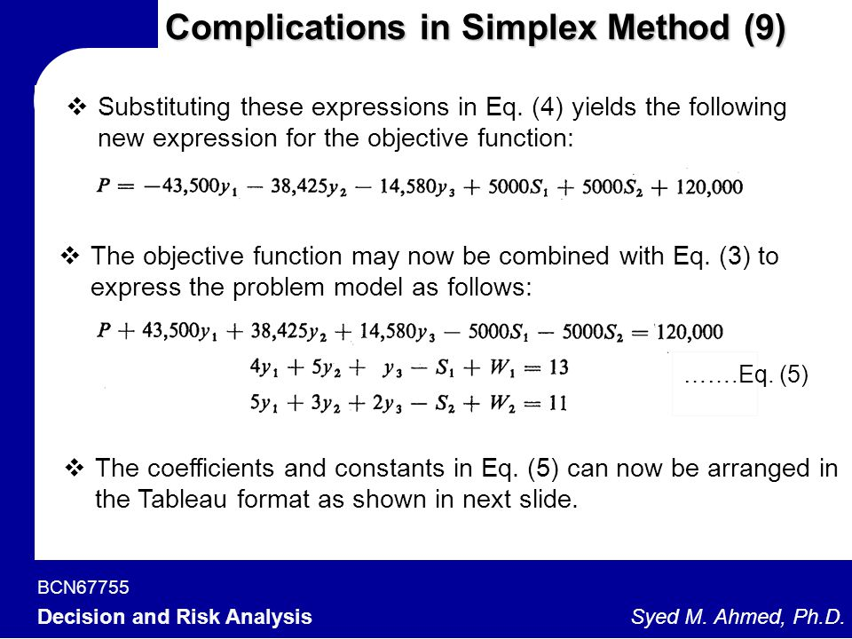 Complications in Simplex Method (9)
