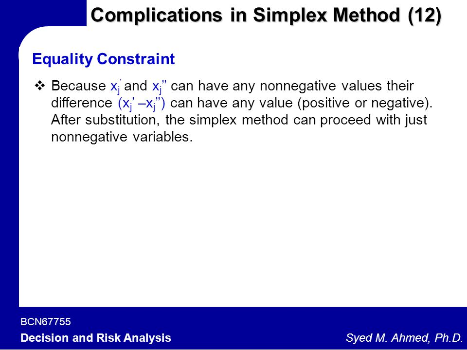 Complications in Simplex Method (12)