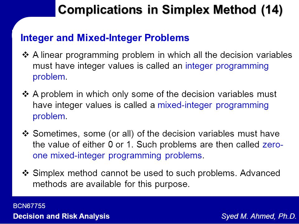 Complications in Simplex Method (14)
