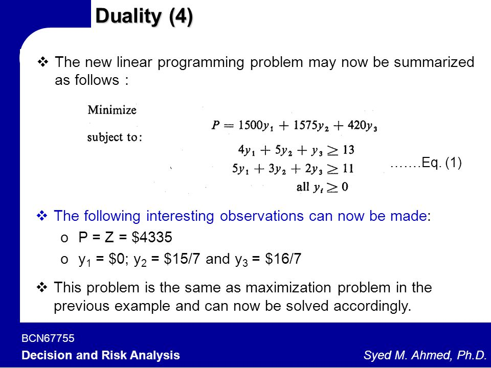 Duality (4) The new linear programming problem may now be summarized as follows : …….Eq. (1)