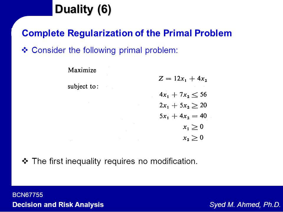 Duality (6) Complete Regularization of the Primal Problem