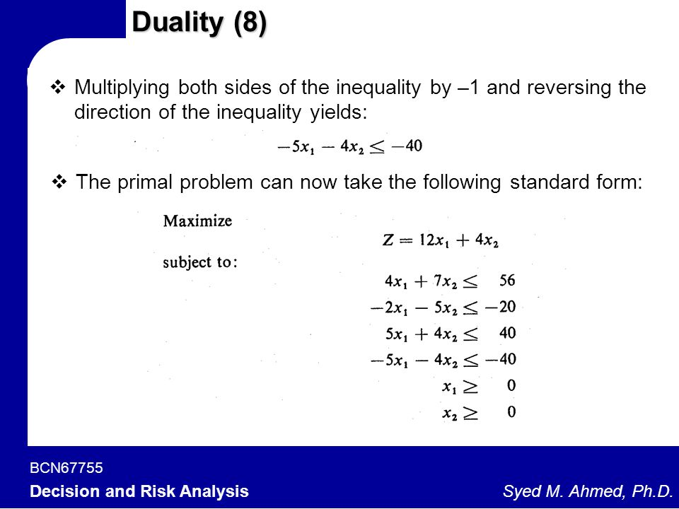 Duality (8) Multiplying both sides of the inequality by –1 and reversing the direction of the inequality yields: