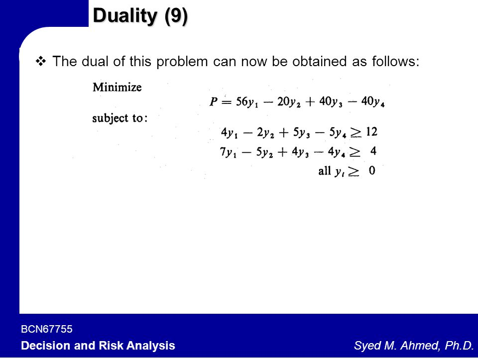 Duality (9) The dual of this problem can now be obtained as follows: