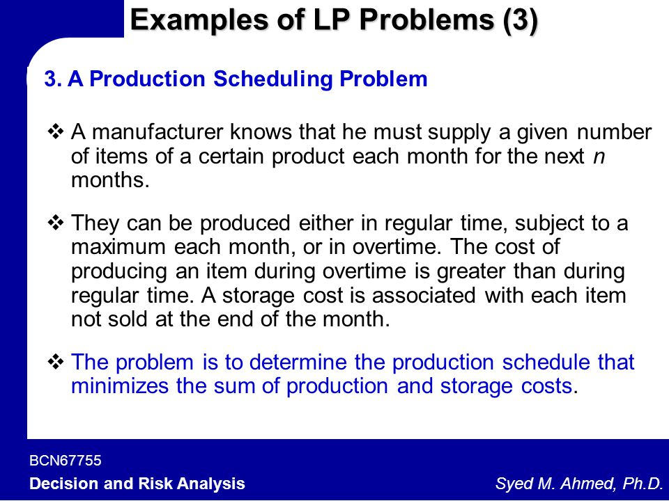 Examples of LP Problems (3)