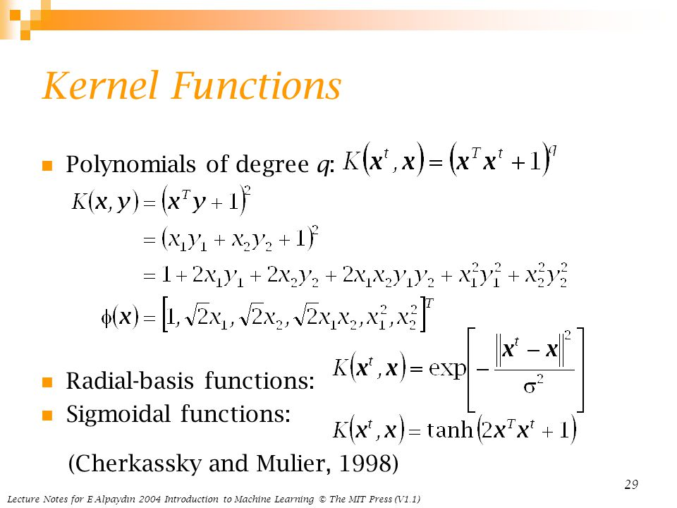 Kernel Functions Polynomials of degree q: Radial-basis functions: