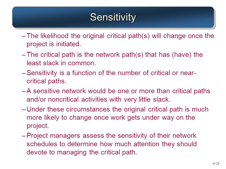 Sensitivity The likelihood the original critical path(s) will change once the project is initiated.