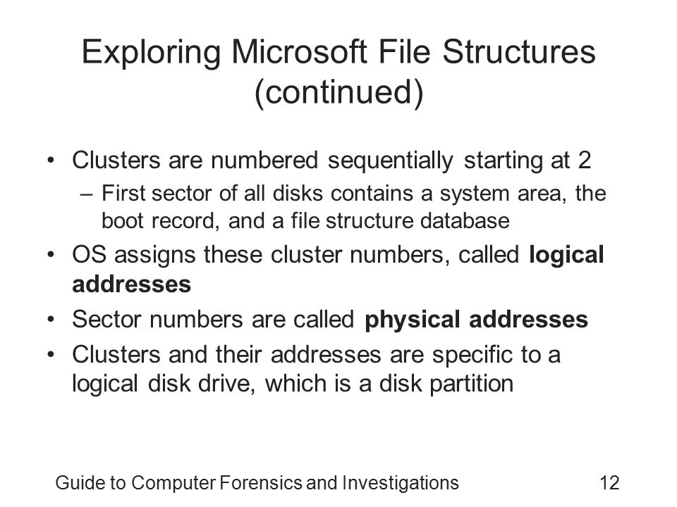 Exploring Microsoft File Structures (continued)