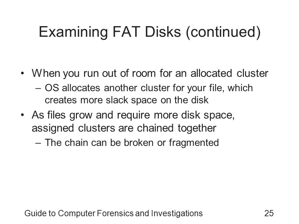 Examining FAT Disks (continued)