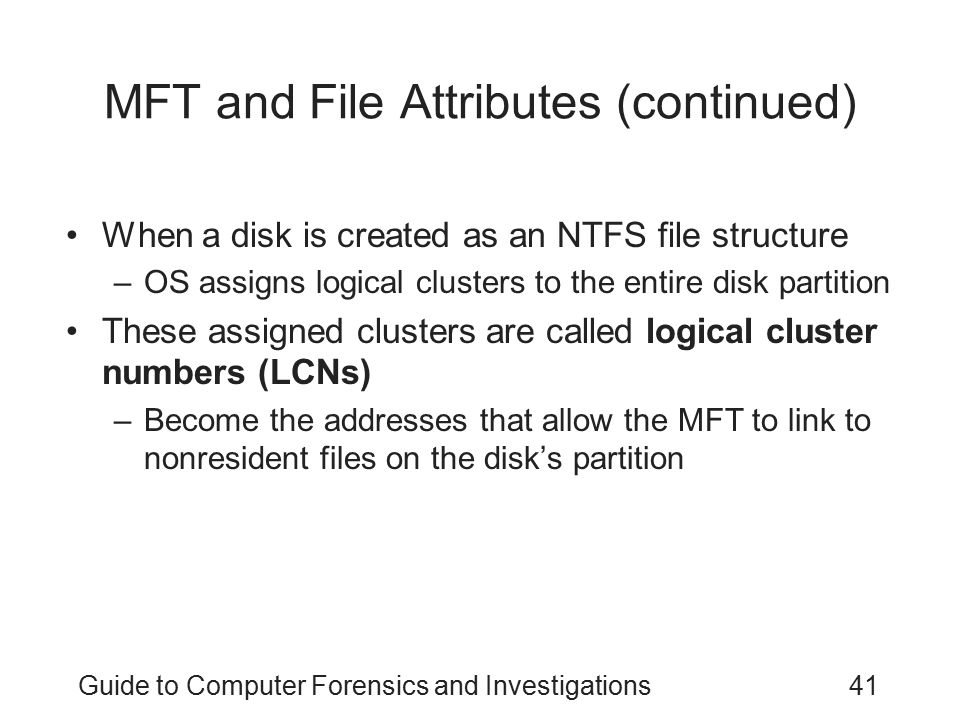 MFT and File Attributes (continued)