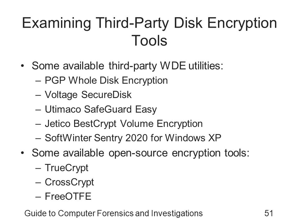 Examining Third-Party Disk Encryption Tools