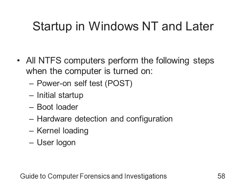 Startup in Windows NT and Later