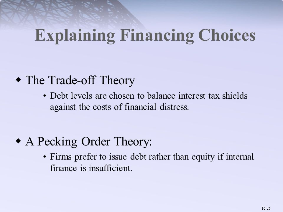 Explaining Financing Choices