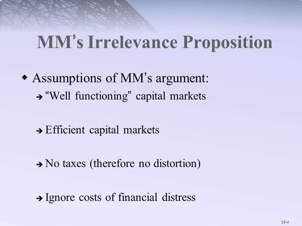 MM's Irrelevance Proposition
