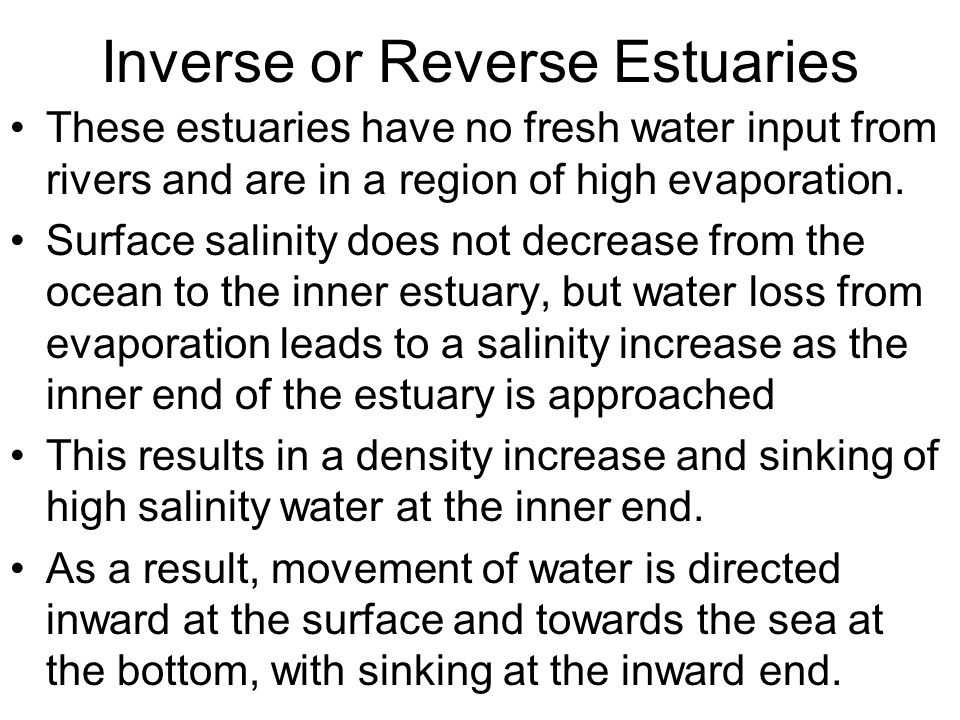 Inverse or Reverse Estuaries
