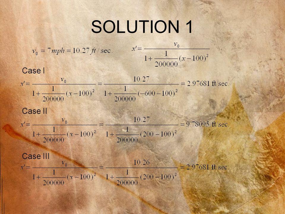 SOLUTION 1 Case I Case II Case III