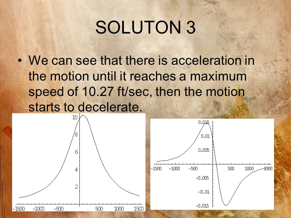 SOLUTON 3 We can see that there is acceleration in the motion until it reaches a maximum speed of 10.27 ft/sec, then the motion starts to decelerate.