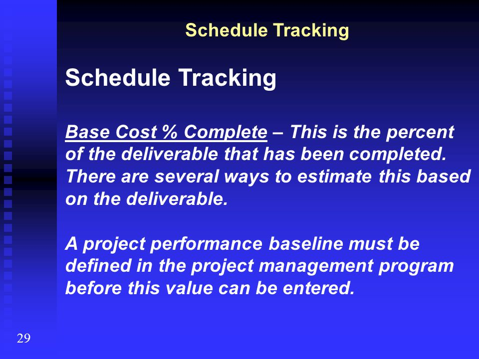Schedule Tracking Schedule Tracking