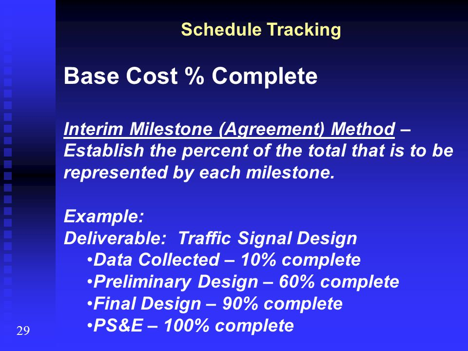 Base Cost % Complete Schedule Tracking