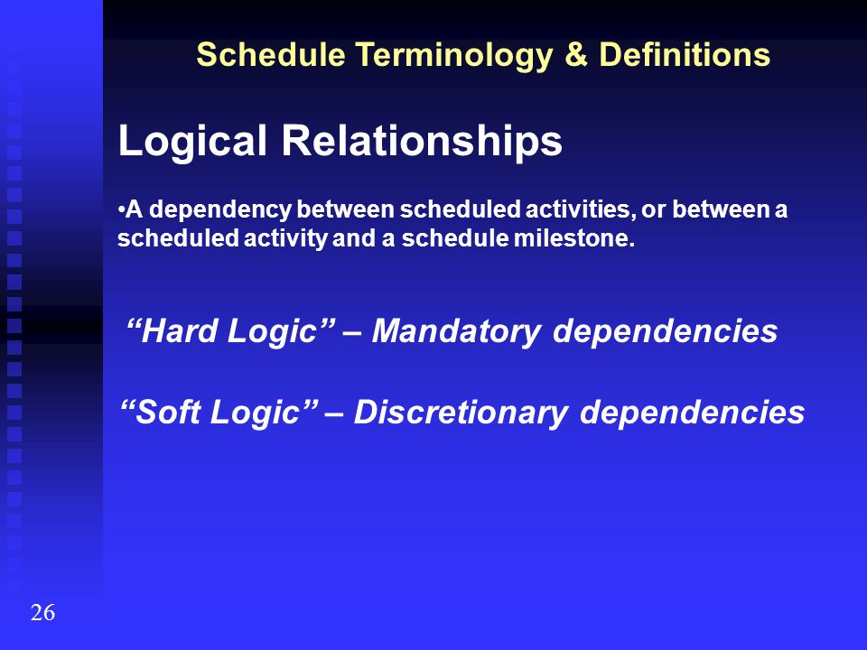 Schedule Terminology & Definitions