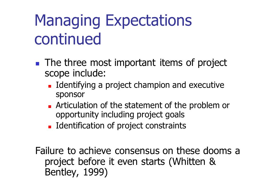 Managing Expectations continued