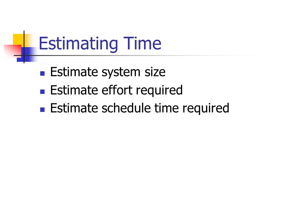 Estimating Time Estimate system size Estimate effort required