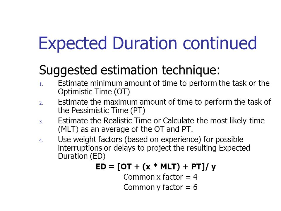 Expected Duration continued