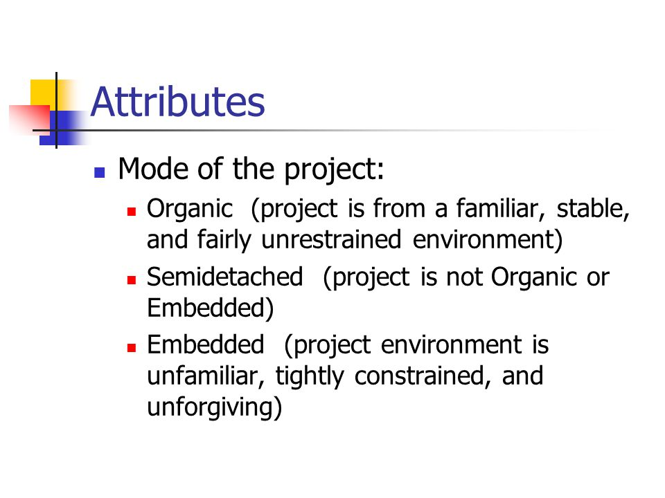 Attributes Mode of the project: