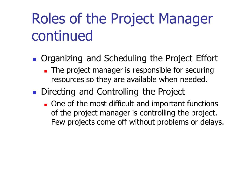 Roles of the Project Manager continued