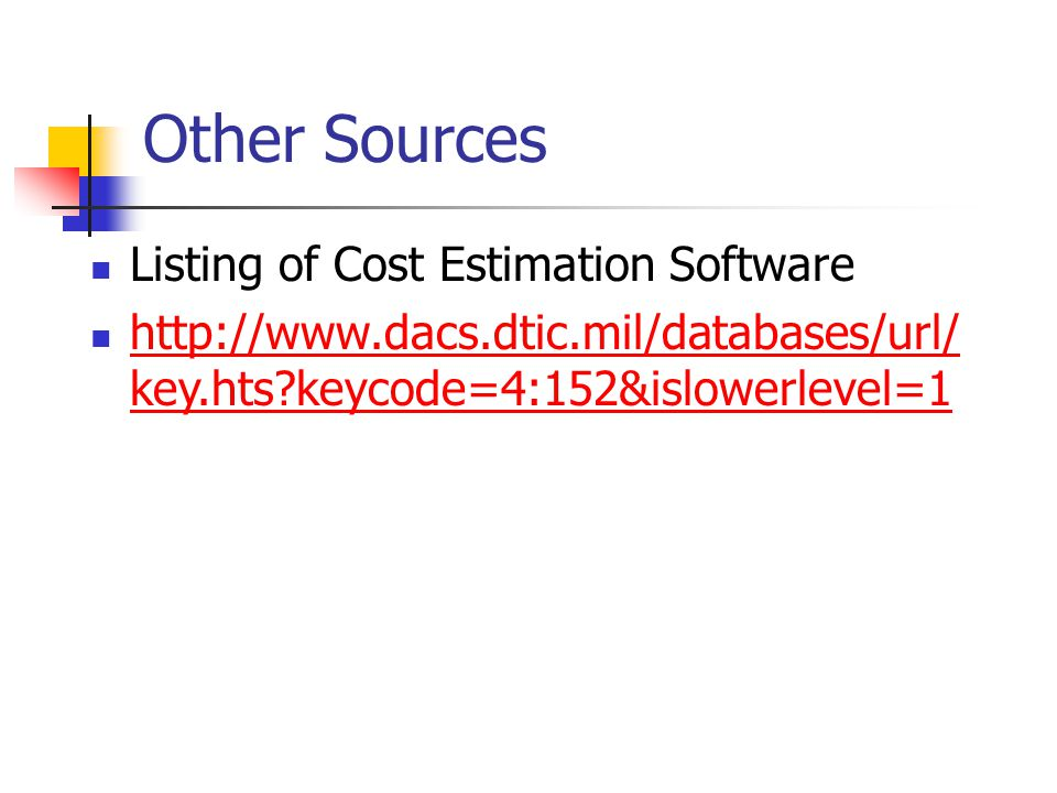 Other Sources Listing of Cost Estimation Software