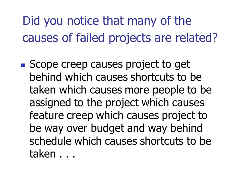 Did you notice that many of the causes of failed projects are related