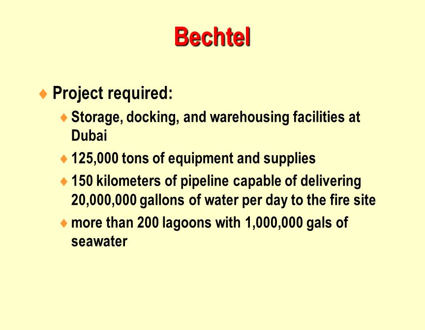 Bechtel Project required: