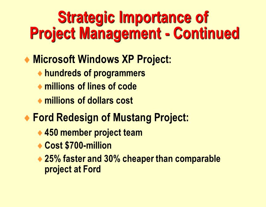 Strategic Importance of Project Management - Continued