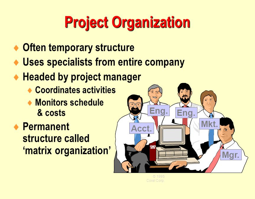 Project Organization Often temporary structure
