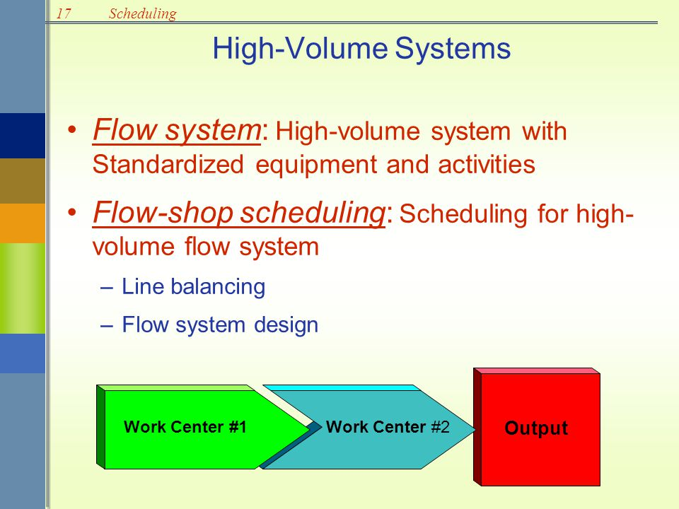Flow-shop scheduling: Scheduling for high-volume flow system